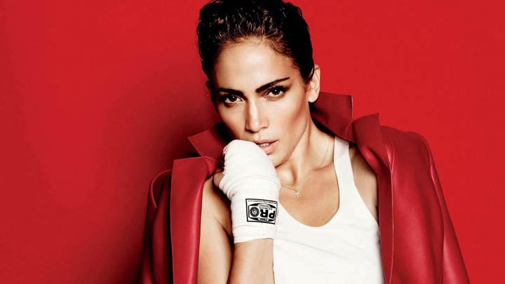 Jennifer Lopez In Red Coat N Red Background At Mario Testino Photoshoot